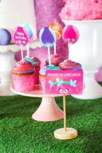 Rainbow Cupcakes from a Trolls Birthday Party with FREE Printables on Kara's Party Ideas | KarasPartyIdeas.com (14)