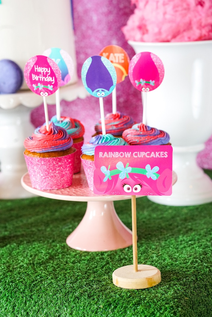 Rainbow Cupcakes from a Trolls Birthday Party with FREE Printables on Kara's Party Ideas | KarasPartyIdeas.com (14)