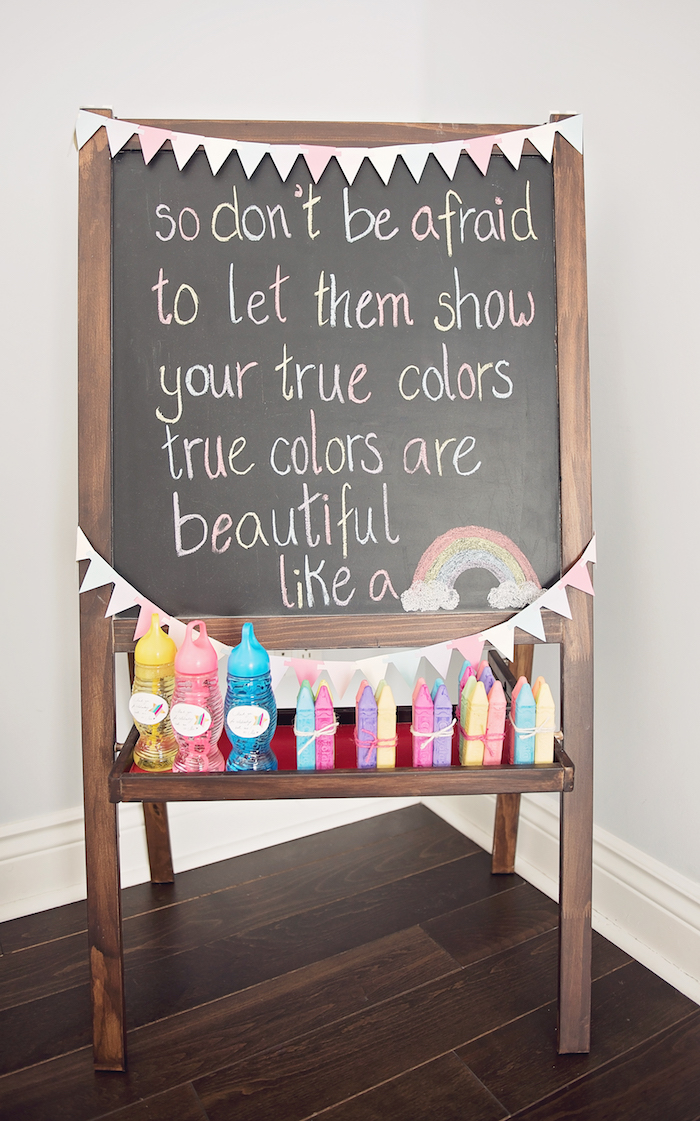 Chalkboard sign from a Trolls Inspired Birthday Party on Kara's Party Ideas | KarasPartyIdeas.com (17)