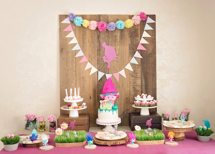 Dessert table from a Trolls Inspired Birthday Party on Kara's Party Ideas | KarasPartyIdeas.com (8)