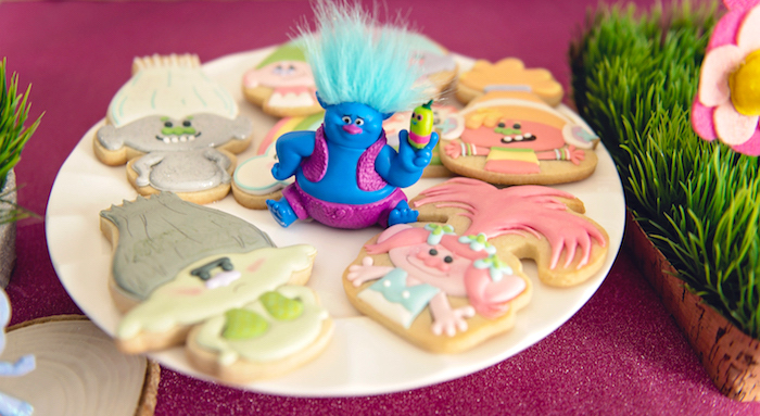 Troll cookies from a Trolls Inspired Birthday Party on Kara's Party Ideas | KarasPartyIdeas.com (29)