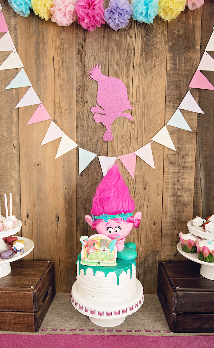 Cakescape from a Trolls Inspired Birthday Party on Kara's Party Ideas | KarasPartyIdeas.com (25)