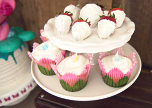 Cupcakes and dipped strawberries from a Trolls Inspired Birthday Party on Kara's Party Ideas | KarasPartyIdeas.com (24)