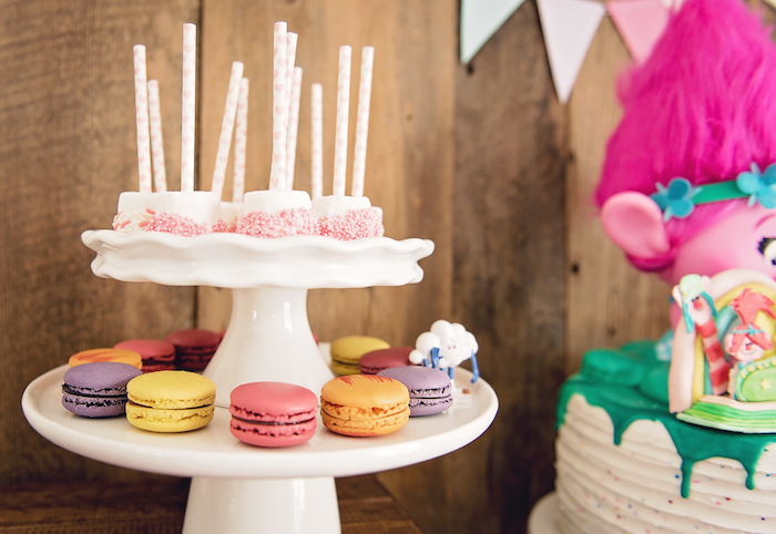 Macarons and marshmallow pops from a Trolls Inspired Birthday Party on Kara's Party Ideas | KarasPartyIdeas.com (22)