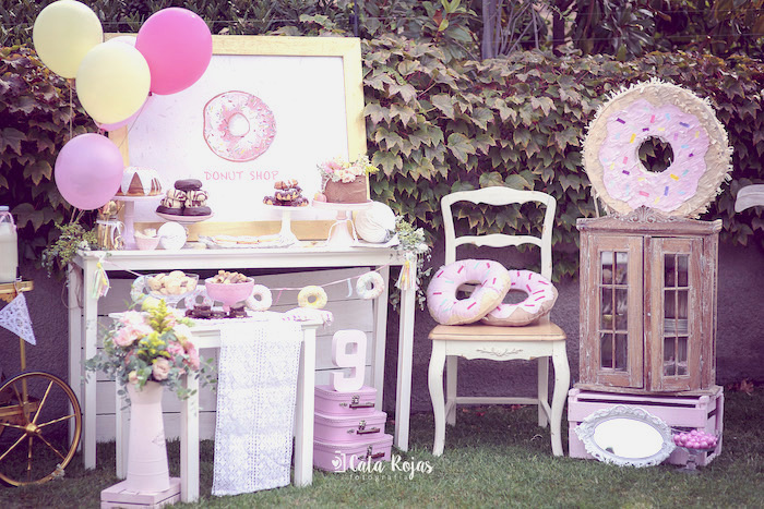 Donut dessert spread from a Vintage Donut Shop Birthday Party on Kara's Party Ideas | KarasPartyIdeas.com (23)