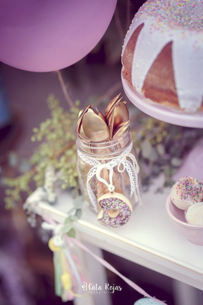 Spoon jar tied with ribbon and a donut from a Vintage Donut Shop Birthday Party on Kara's Party Ideas | KarasPartyIdeas.com (18)