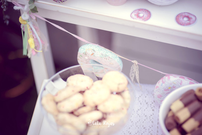 Shabby chic donut garland from a Vintage Donut Shop Birthday Party on Kara's Party Ideas | KarasPartyIdeas.com (17)