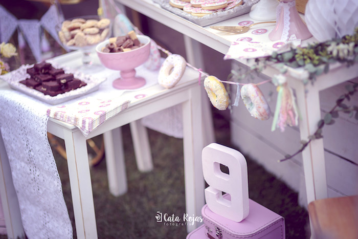 Shabby chic donut garland from a Vintage Donut Shop Birthday Party on Kara's Party Ideas | KarasPartyIdeas.com (16)