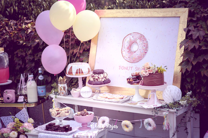 Donut dessert spread from a Vintage Donut Shop Birthday Party on Kara's Party Ideas | KarasPartyIdeas.com (15)