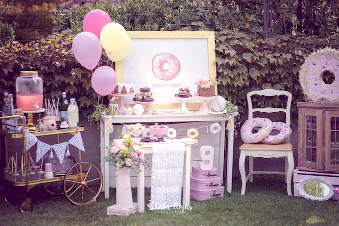 Donut dessert table from a Vintage Donut Shop Birthday Party on Kara's Party Ideas | KarasPartyIdeas.com (14)
