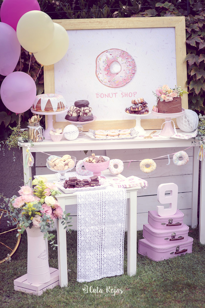 Donut dessert table from a Vintage Donut Shop Birthday Party on Kara's Party Ideas | KarasPartyIdeas.com (13)