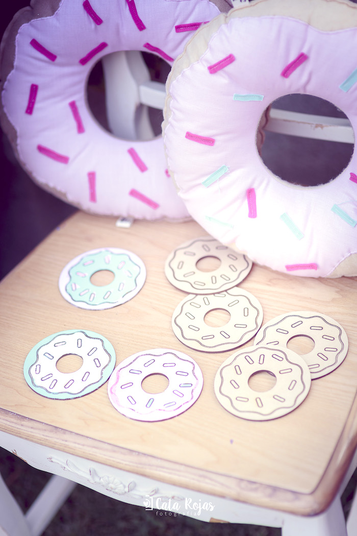 Donuts to paint from a Vintage Donut Shop Birthday Party on Kara's Party Ideas | KarasPartyIdeas.com (11)