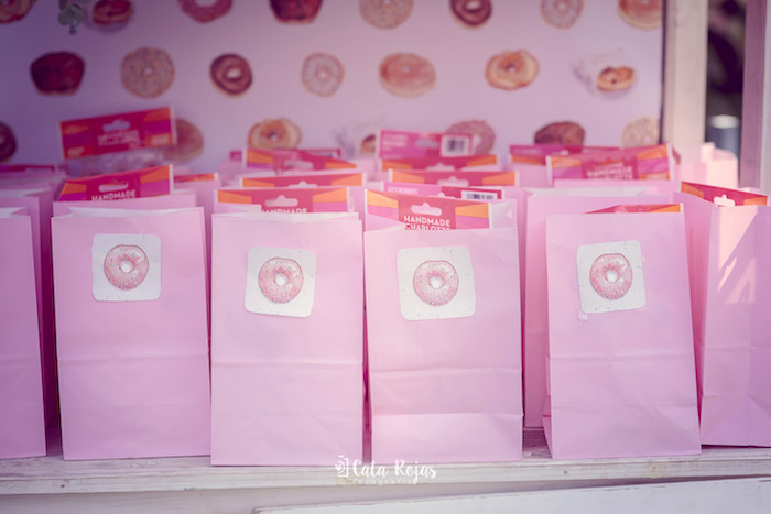 Pink favor sacks from a Vintage Donut Shop Birthday Party on Kara's Party Ideas | KarasPartyIdeas.com (10)