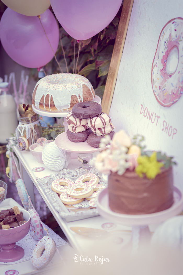 Sweet display from a Vintage Donut Shop Birthday Party on Kara's Party Ideas | KarasPartyIdeas.com (9)