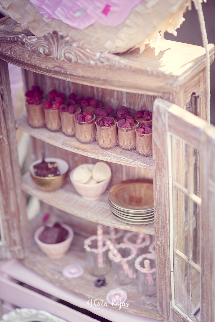 Cabinet of desserts from a Vintage Donut Shop Birthday Party on Kara's Party Ideas | KarasPartyIdeas.com (5)