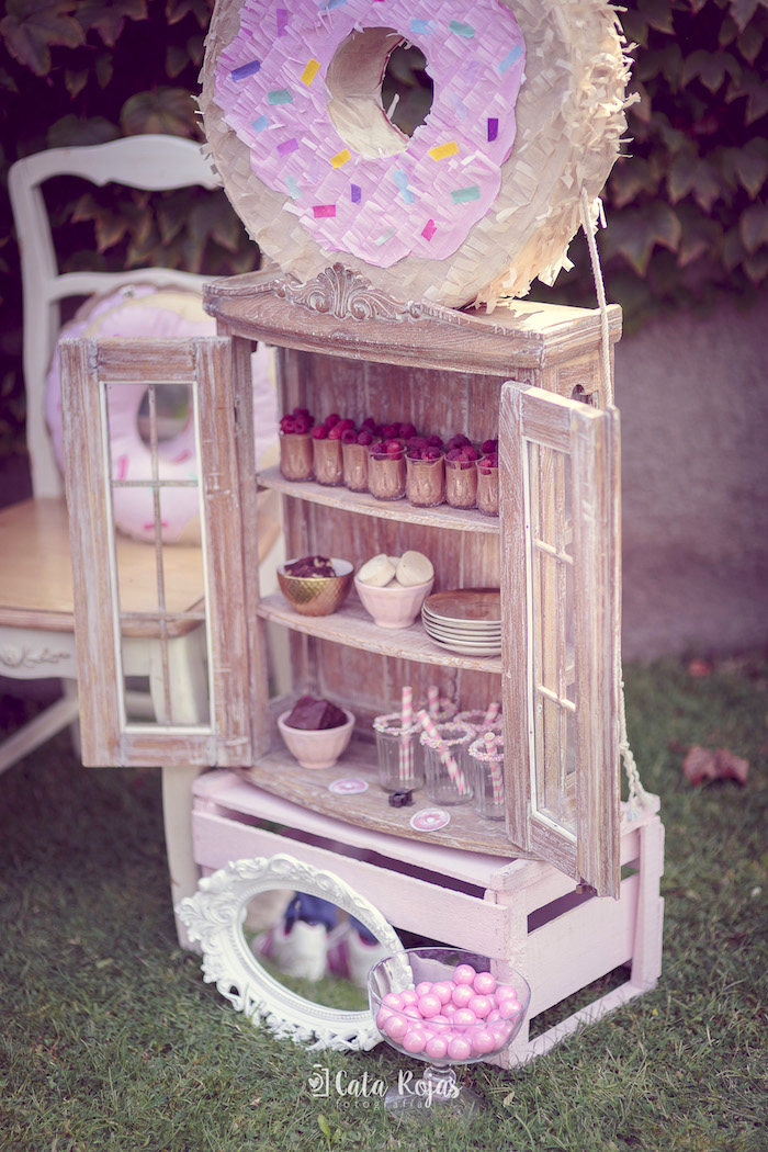 Cabinet of desserts from a Vintage Donut Shop Birthday Party on Kara's Party Ideas | KarasPartyIdeas.com (4)