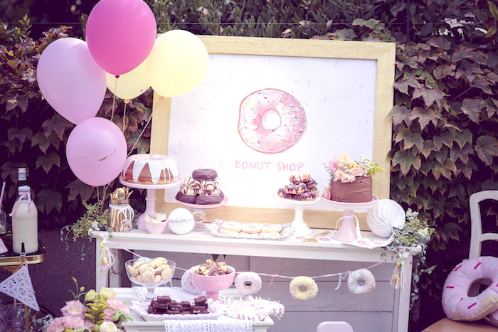 Dessert table detail from a Vintage Donut Shop Birthday Party on Kara's Party Ideas | KarasPartyIdeas.com (34)