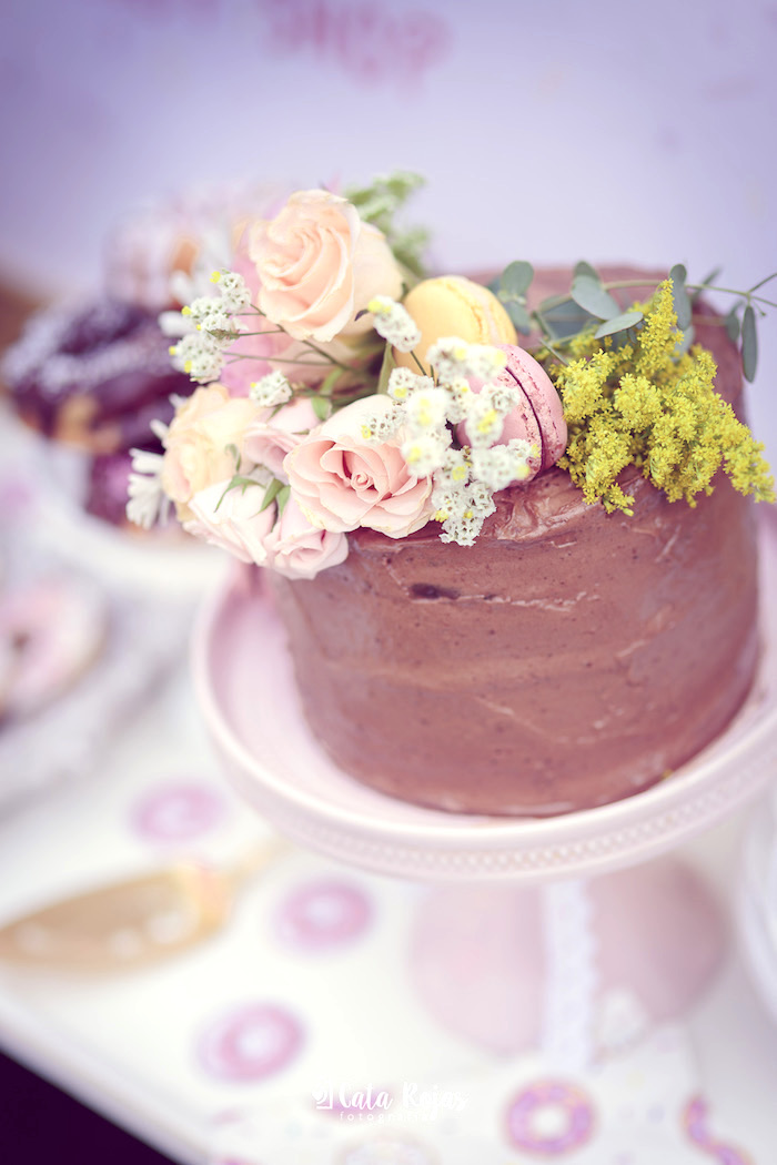 Floral-topped chocolate cake from a Vintage Donut Shop Birthday Party on Kara's Party Ideas | KarasPartyIdeas.com (32)