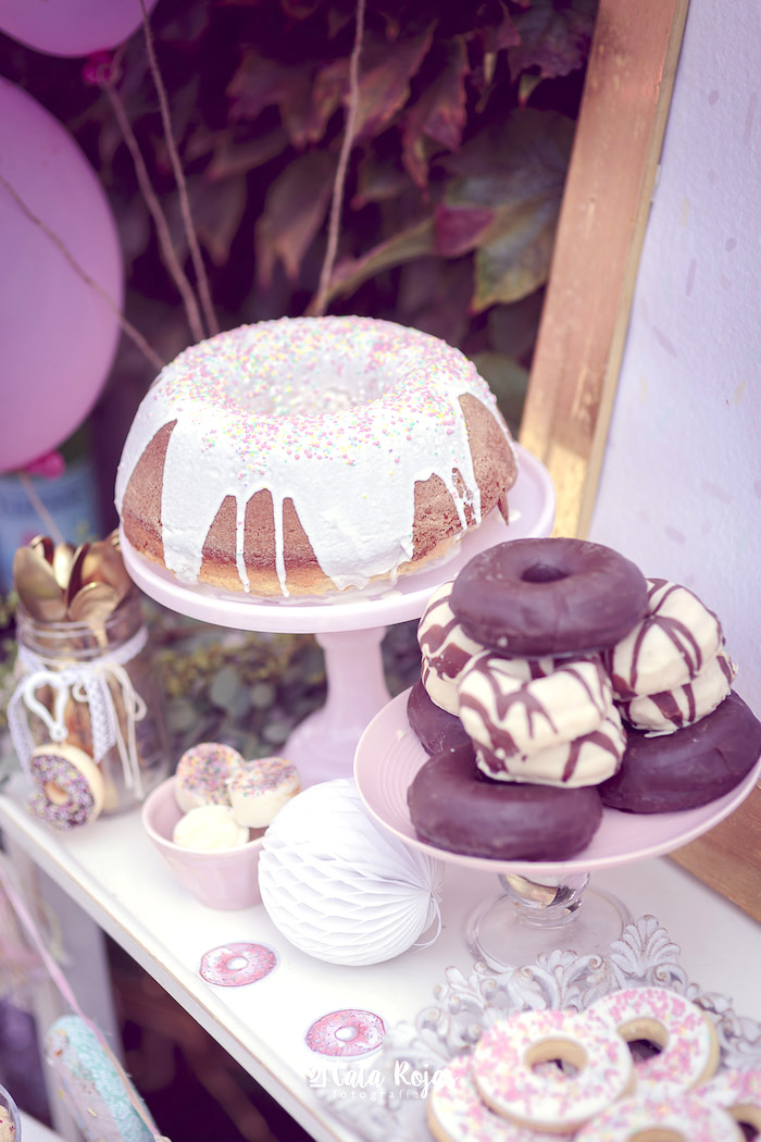Bundt cake and donuts from a Vintage Donut Shop Birthday Party on Kara's Party Ideas | KarasPartyIdeas.com (30)