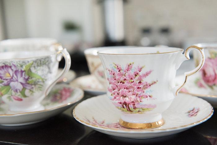 Tea cups & saucers from a Vintage First Birthday Tea Party on Kara's Party Ideas   KarasPartyIdeas.com (10)