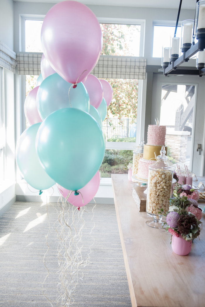 Balloons tied with jute twine tails from a Vintage First Birthday Tea Party on Kara's Party Ideas | KarasPartyIdeas.com (9)