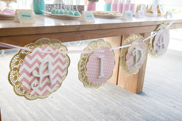 Doily name banner from a Vintage First Birthday Tea Party on Kara's Party Ideas   KarasPartyIdeas.com (8)