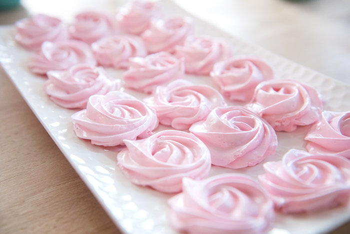 Pink meringue cookies from a Vintage First Birthday Tea Party on Kara's Party Ideas   KarasPartyIdeas.com (18)