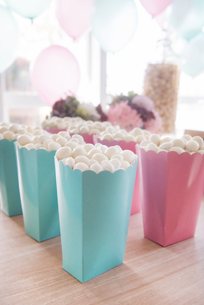 Pink + teal favor boxes from a Vintage First Birthday Tea Party on Kara's Party Ideas   KarasPartyIdeas.com (17)