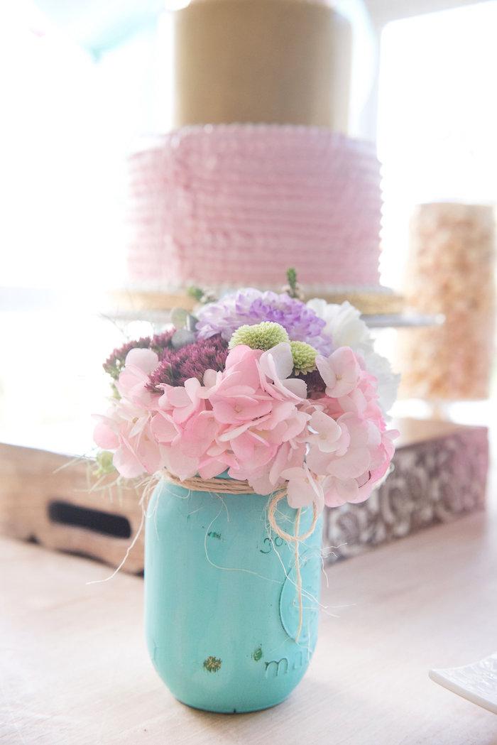 Mason jar floral arrangement from a Vintage First Birthday Tea Party on Kara's Party Ideas | KarasPartyIdeas.com (16)