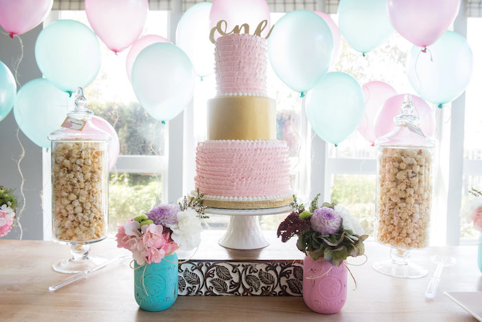 Pink + gold ruffle cake from a Vintage First Birthday Tea Party on Kara's Party Ideas | KarasPartyIdeas.com (15)