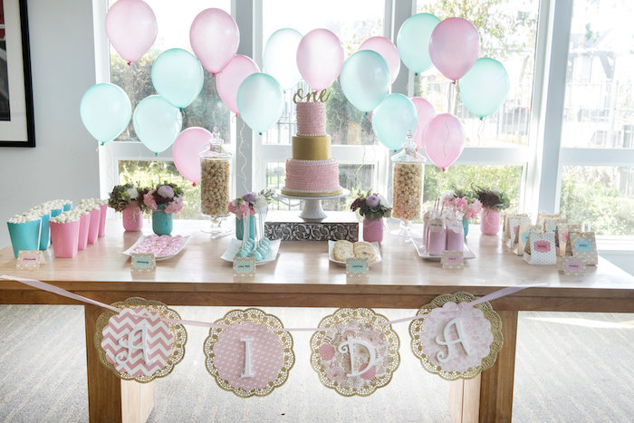 Dessert table from a Vintage First Birthday Tea Party on Kara's Party Ideas | KarasPartyIdeas.com (13)