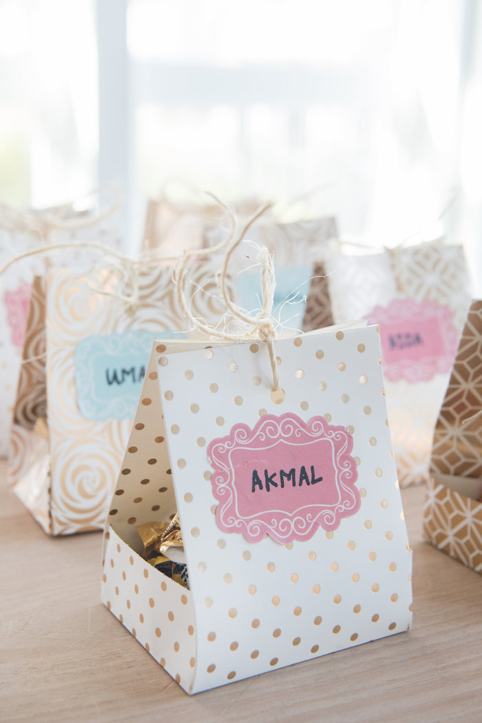 Favor bag box from a Vintage First Birthday Tea Party on Kara's Party Ideas | KarasPartyIdeas.com (11)