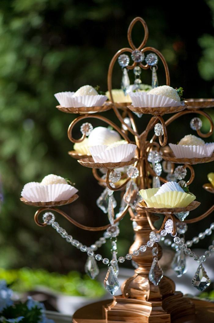 Chandelier dessert pedestal from a Vintage Garden Party on Kara's Party Ideas | KarasPartyIdeas.com (11)