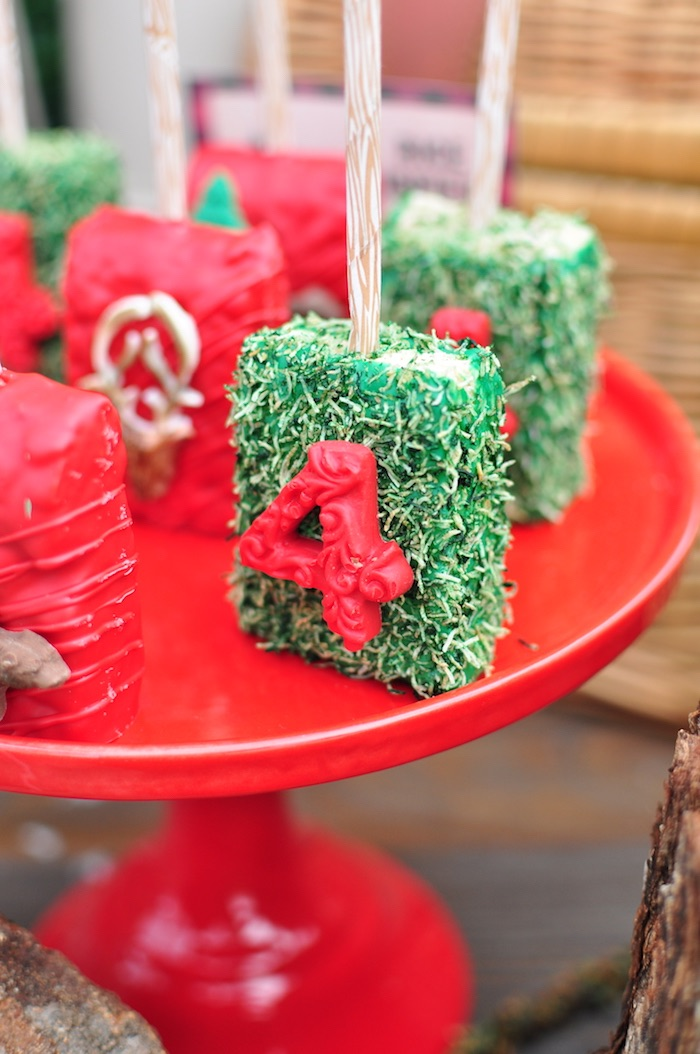 Pine Tree-inspired Rice Krispie Treat from a Winter Camping Themed Birthday Party on Kara's Party Ideas | KarasPartyIdeas.com (5)