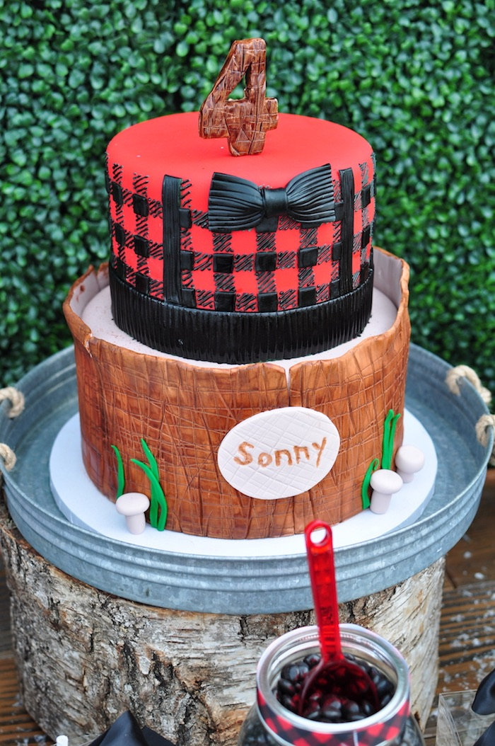 Camping Inspired Birthday Cake From A Winter Themed Party On Karas Ideas
