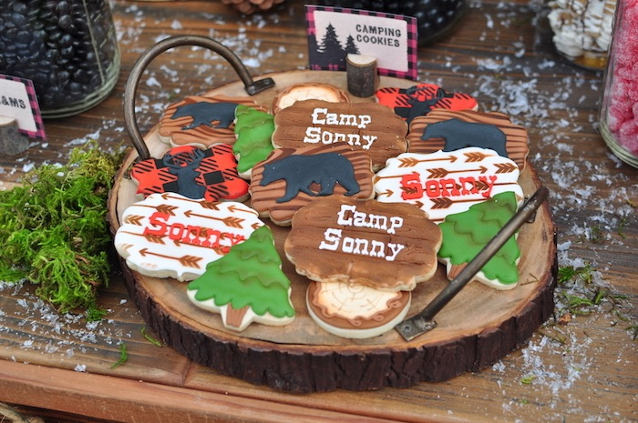 Camp cookies from a Winter Camping Themed Birthday Party on Kara's Party Ideas | KarasPartyIdeas.com (10)