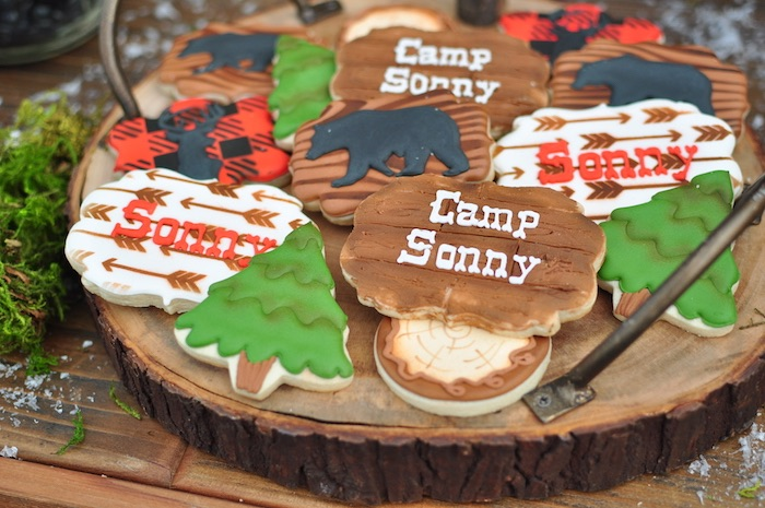 Camp Cookies From A Winter Camping Themed Birthday Party On Karas Ideas