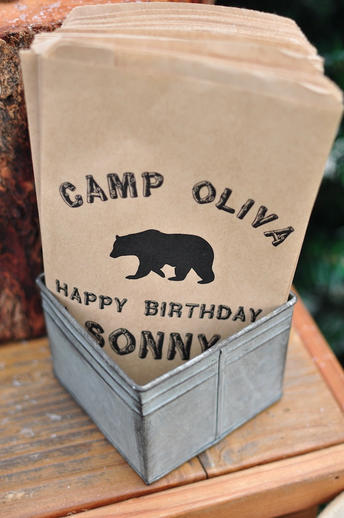 Bear-printed snack sacks from a Winter Camping Themed Birthday Party on Kara's Party Ideas | KarasPartyIdeas.com (7)