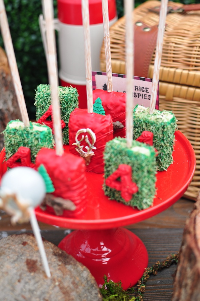 Rice Krispie Treats from a Winter Camping Themed Birthday Party on Kara's Party Ideas | KarasPartyIdeas.com (6)