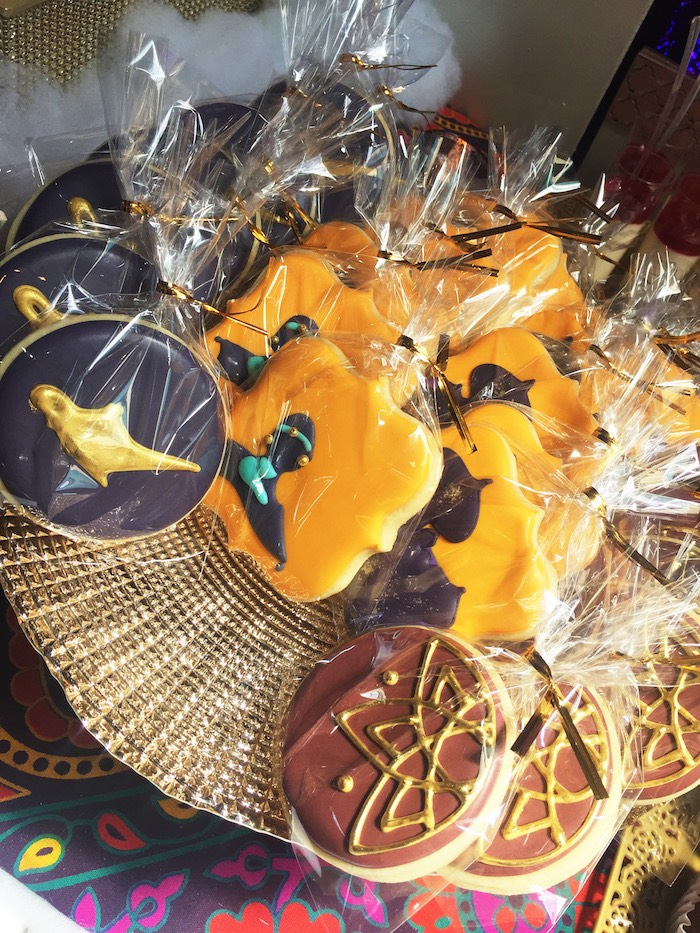 "Aladdin cookies from ""A Whole New World"" Aladdin Birthday Party on Kara's Party Ideas 