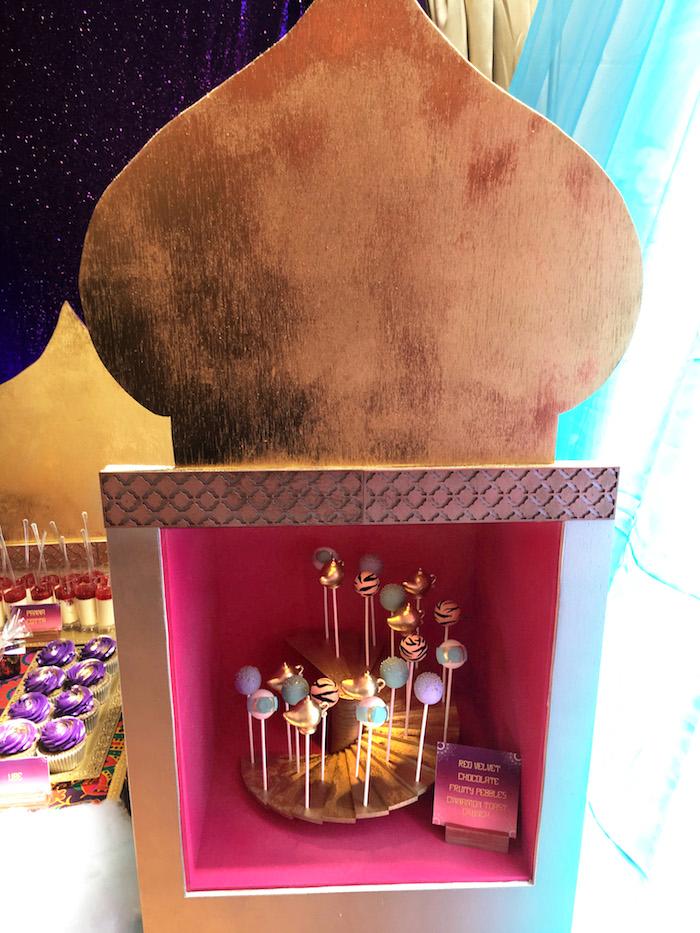 "Castle pillar shelf from a ""A Whole New World"" Aladdin Birthday Party on Kara's Party Ideas | KarasPartyIdeas.com (8)"