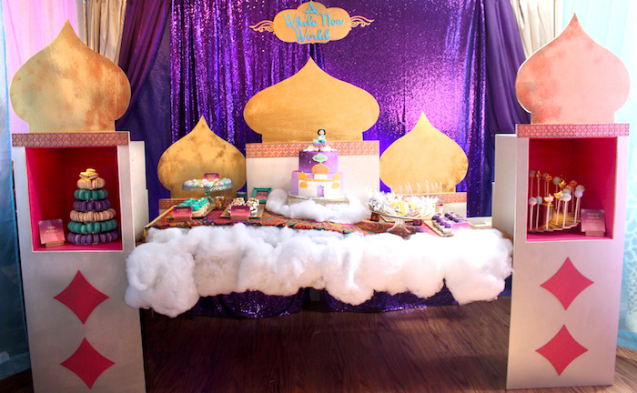 "Royal Palace Dessert Table from ""A Whole New World"" Aladdin Birthday Party on Kara's Party Ideas 