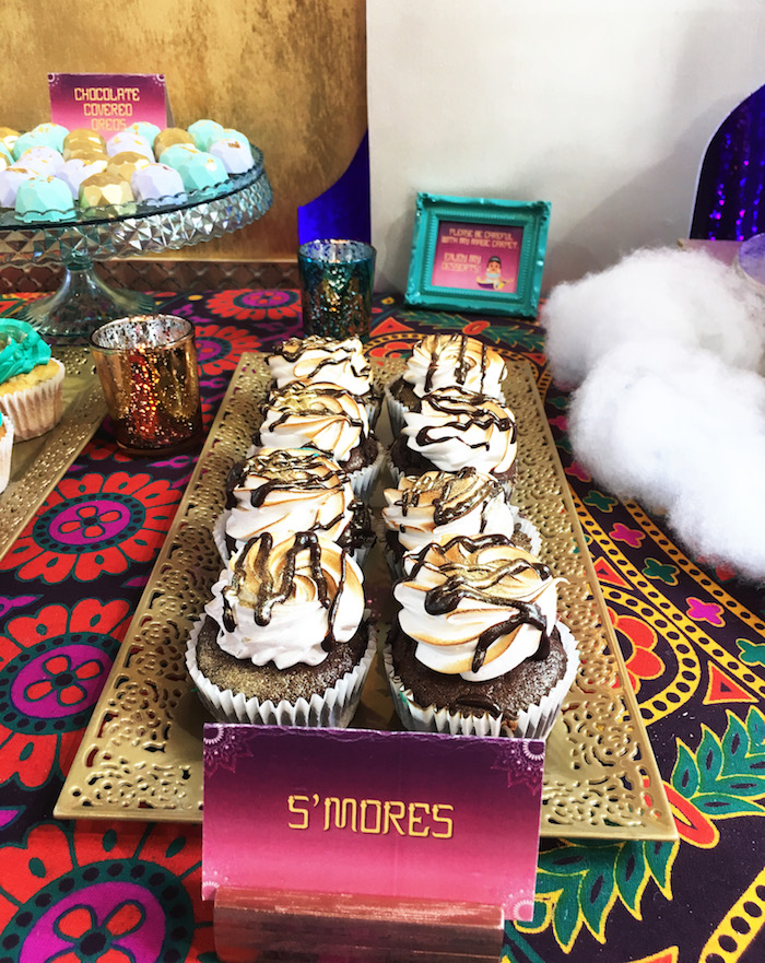 "S'mores cupcakes from ""A Whole New World"" Aladdin Birthday Party on Kara's Party Ideas 