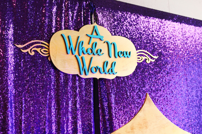 "Aladdin-inspired dessert table backdrop from ""A Whole New World"" Aladdin Birthday Party on Kara's Party Ideas 