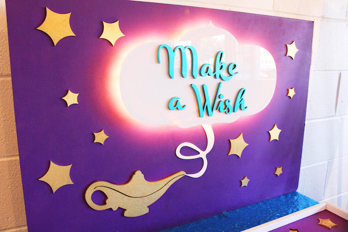 "Make a Wish backdrop from ""A Whole New World"" Aladdin Birthday Party on Kara's Party Ideas | KarasPartyIdeas.com (21)"
