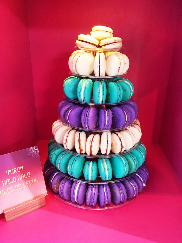 "Macarons tower from ""A Whole New World"" Aladdin Birthday Party on Kara's Party Ideas 