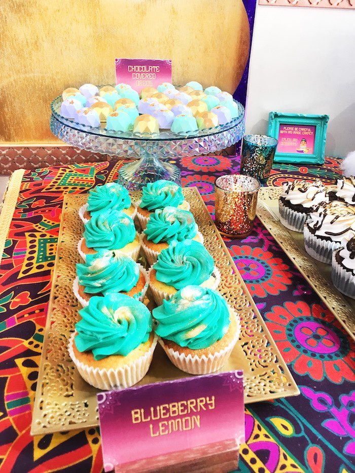 "Cupcakes and chocolate jewels from ""A Whole New World"" Aladdin Birthday Party on Kara's Party Ideas 