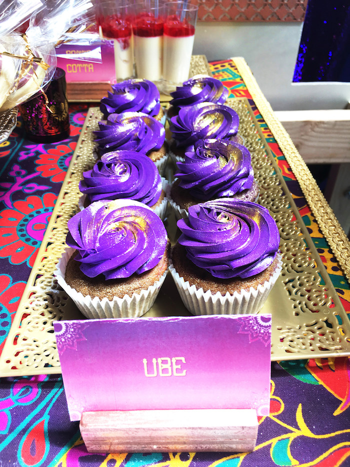 "Purple cupcakes sprinkled with gold from ""A Whole New World"" Aladdin Birthday Party on Kara's Party Ideas 