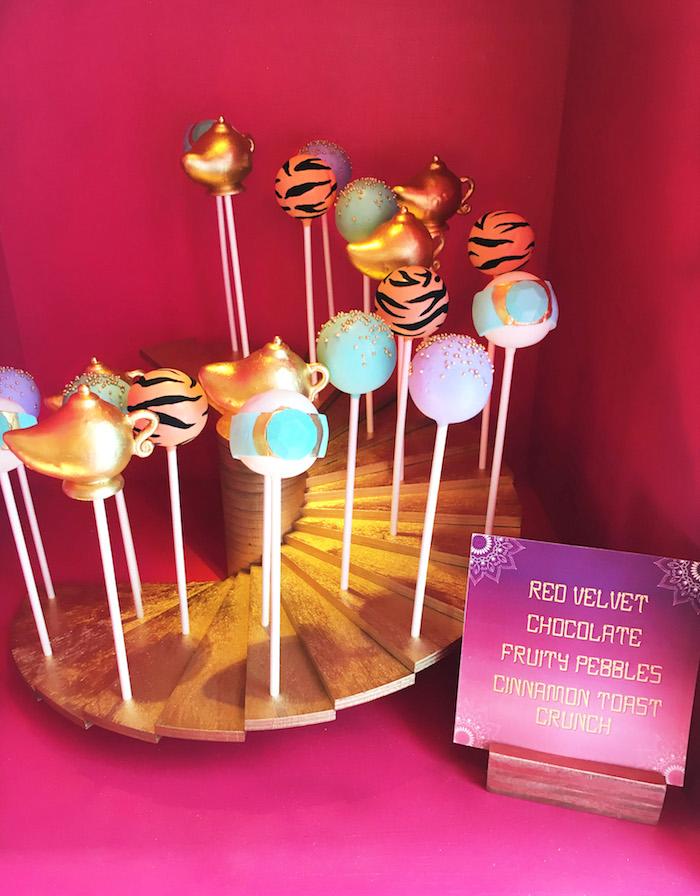 "Aladdin cake pops from ""A Whole New World"" Aladdin Birthday Party on Kara's Party Ideas | KarasPartyIdeas.com (17)"