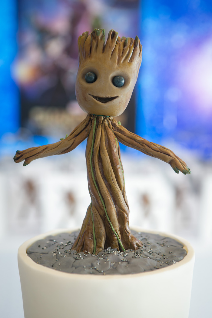 "Groot cake topper from a ""Guardians of the Galaxy"" Birthday Party on Kara's Party Ideas 